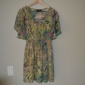 As U Wish Green/Tan/Pink Flutter Sleeve Dress Sz M